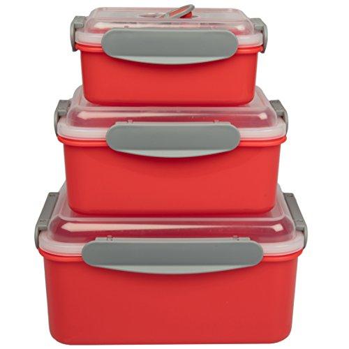 Good Cooking Mikrowellen-Essen-Vorratsbehälter set 3 ImbriChatsion Mahlzeit Prep w Verriegelung Behältern Geschirr Mikrowelle Dampf Evakuierung Abdeckungen BPA frei, kühl- und Gefrierschrank sicher