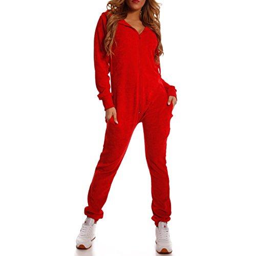 Crazy Age Damen Jumpsuit aus Samt (Nicki, Velvet) Wohlfühlen mit Style. Elegant, Kuschelig, Weich. Overall, Ganzkörperanzug, Jogging - Freizeit Anzug, Onesie (Rot, L) - Roter Overall