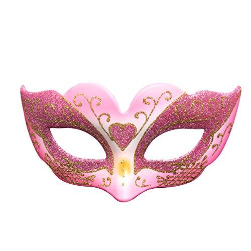 Treeshu Girl Es Halloween Half Maske Mit Federn, Masquerade Maske Hochzeits-Requisiten Mardi Gras Party Maskenkarneval Kostüm Accessoire,Pink