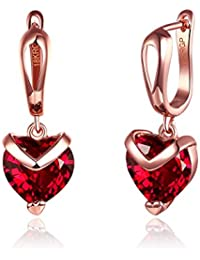 Yellow Chimes Red Heart A5 Grade Crystal 18K Rose Gold Plated Earrings Women (Red) (YCFJER-173HRT-RD)