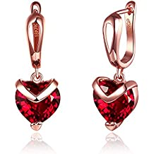 Yellow Chimes Red Austrian Crystal 18K Rose Gold Plated Stud Earrings Women