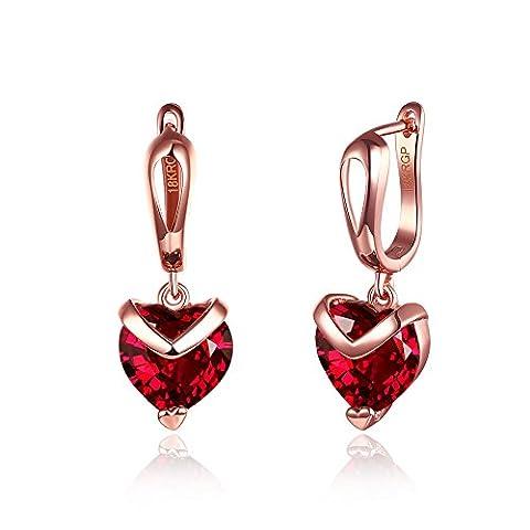 FushoP 18K Forme du Coeur CZ en Cristal Rouge Laissez