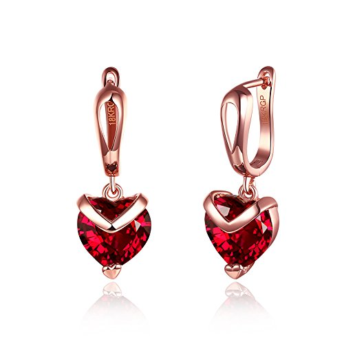 Yellow Chimes Red Heart A5 Grade Crystal 18K Rose Gold Plated Earrings Women