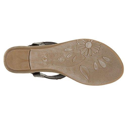 AgeeMi Shoes Unisex Slip On Offener Zeh Doppel Riemen Gummi Flats Sandalen,EuL06 Schwarz 37