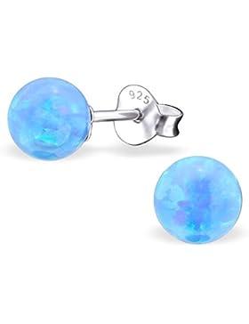 EYS JEWELRY® Damen-Ohrringe Kugeln Bälle Perlen 6 x 6 mm Opal 925 Sterling Silber hell-blau im Schmuck-Etui Ohrstecker...