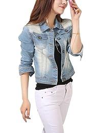 Women Ladies Girls Slim Fitted Button up Long Sleeve Denim Blue Jacket Jean Jacket