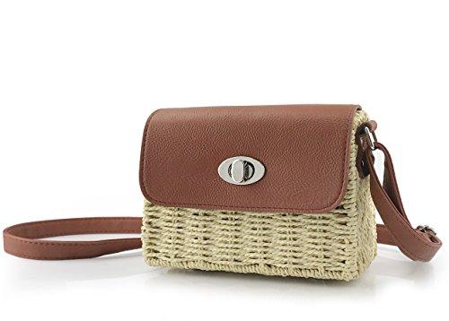 Petite Satchel Handtasche (Hoxis Damen vintage traw basket case Umhängetasche klein ferien Geldbeutel S Beige)