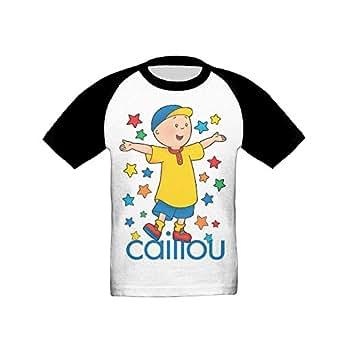 Annda Little Boys Caillou Animation Raglan T-shirt 5-6 Toddler Black