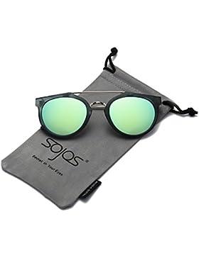 SojoS Gafas De Sol Unisex Clásico Marco Redondo Plástico Doble Puente Metal Lentes Espejo SJ2032