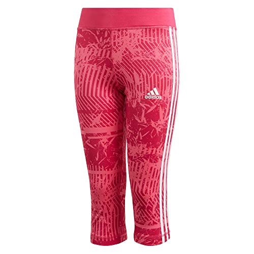 Adidas Tennis Strumpfhosen (adidas Kinder Training Equipment 3-Stripes 3/4 Strumpfhose, Semi Solar Pink/Real Magenta/White, 164)