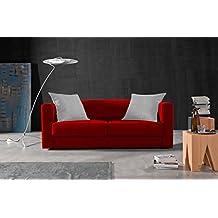 Sofá 3 plazas SAK ,acabado tela antimanchas color (Rojo y cojines Blancos)