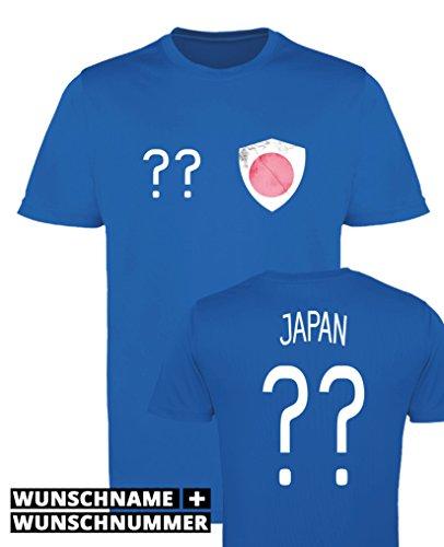 Comedy Shirts - Japan Trikot - Wappen: Klein - Wunsch - Herren Trikot - Royalblau/Weiss Gr. S