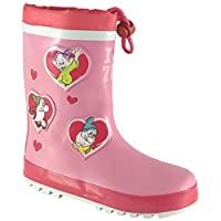 Disney Seven Dwarfs Girls Wellington Rain Boots Drawstring 100% Rubber Character Gumboot Wellies Junior 5-Youth 2 UK Sizes Age 18 Month to 8 Years for Toddler Kids/Older Children Waterproof Pink