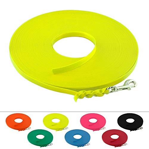 LENNIE Leichte BioThane Schleppleine, 9mm, Hunde bis 5kg, 3m lang, ohne Handschlaufe, Neon-Gelb, geflochten