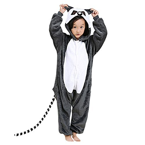 Flanell Onesies Tier Pyjamas Homewear Lemur Cosplay Kostüm 120(Höhe Vorschlagen 114-122CM) (Lemur Kostüm Kinder)