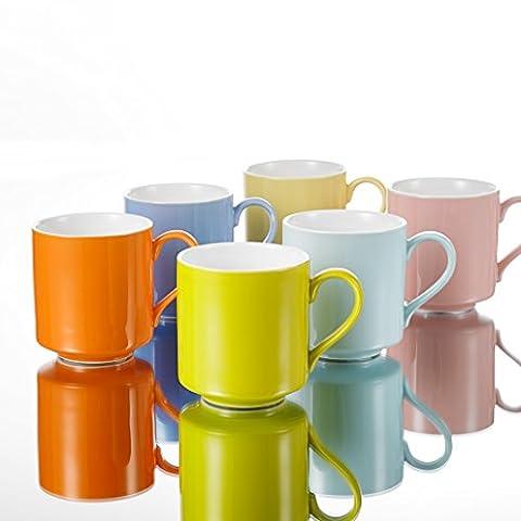 Panbado Bunte Kaffeetassen aus Porzellan, 6 tlg. Set Tassen 400 ml, 4,75
