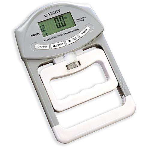 """Dinamómetro de mano digital Camry: mida con precisión el poder de su agarre manual Presupuesto: Capacidad: 198 lb / 90 kg; División: 0.2lbs / 0.1kgs. Pantalla: """"Pantalla LCD de 2,05 x 0,91 pulgadas / 52 x 23 mm. Tamaño: 7.7 x 4.9 x 1.2 pulgadas / 195..."""