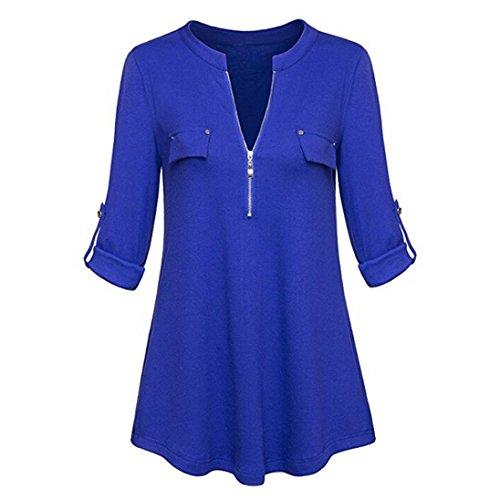 V-Ausschnitt Langarm Roll-up Ärmel Zipper Shirt Bluse Tops Oberteile(Blau,XX-Large) (Superwoman Arten Von Halloween Kostüme)