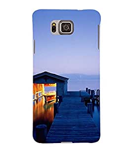 Fuson Designer Back Case Cover for Samsung Galaxy Alpha :: Samsung Galaxy Alpha S801 :: Samsung Galaxy Alpha G850F G850T G850M G850Fq G850Y G850A G850W G8508S :: Samsung Galaxy Alfa (Wood pathway River Side Boat Clear water Clear Sky)
