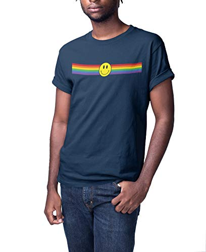 Gay Pride T-Shirt - Happy Face Gay Strip - Unisex Herren Damen LGBT 2019