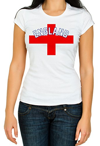 RED&WHITE CO. Flag World Cup 2018 England 3/4 Short Sleeve White Women's Top Quality T-Shirt