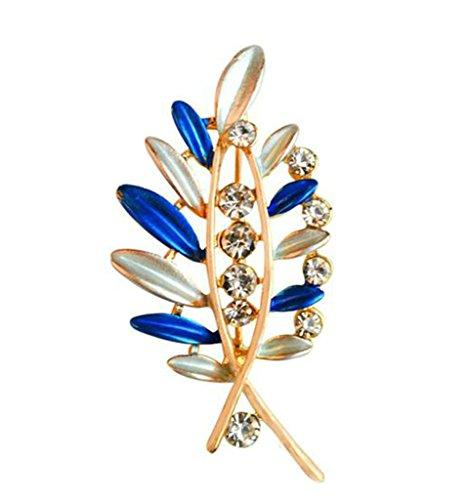 Epinki Unisex Brosche, Edelstahl Blatt Form Broschen Pin Abschlussball Anstecknadel Hochzeit Pins Blau (Auge Rosenkranz Pins)