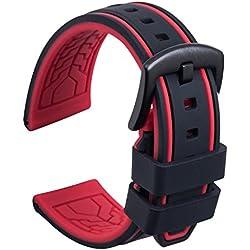 Ullchro Bracelet Montre Remplacer Silicone Bracelet Montre Bicolore - 20, 22, 24, 26mm Caoutchouc Montre Bracelet avec Acier Inoxydable Boucle Noir (22mm, Noir et Rouge)