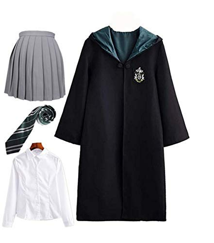 Hogwarts Fancy Kostüm Dress - Fanessy. Kinder Erwachsene Umhang Kostüm Für Harry Potter,Fancy Dress Cosplay Outfit Set Zauberstab Krawatte Schal Brille Hut Hemd Rock Karneval Verkleidung Fasching Halloween 105-185