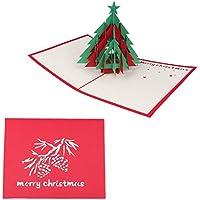Kofun 3D Pop-Up Tarjeta de felicitación con Sobres de Papel artesanía Navidad cumpleaños año invitación árbol de Navidad 12.5x15.5 cm/4.92x6.10 Inch