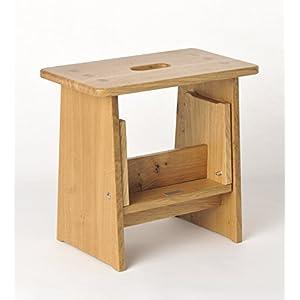 Tritthocker, Sitzhocker Holz, stabil in Eiche Natur Massivholz, für Kinder und die ganze Familie