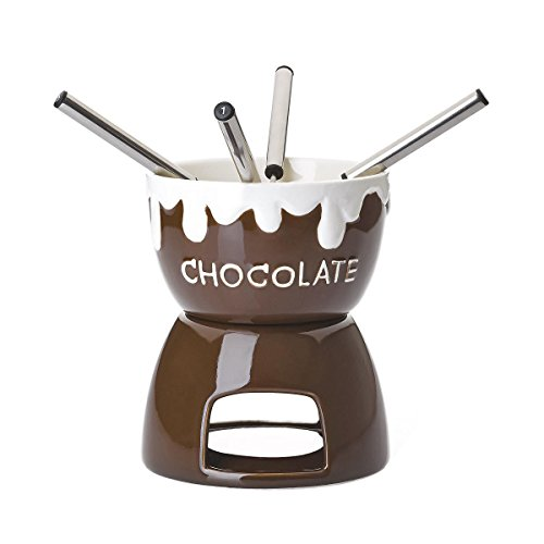 BUTLERS Bobby Brown Schokoladenfondue 7-tlg. - Keramik, Edelstahl - braun - Ø 11,5 cm