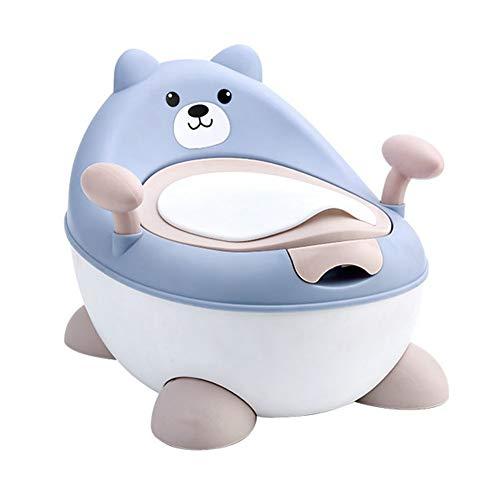 LWYJ Töpfchen Stuhl Sitz für Jungen und Mädchen Tier Töpfchen Bär mit Spritzschutz Griffe und Rückenlehne Toilette,Blue (Töpfchen Stuhl Griffe)