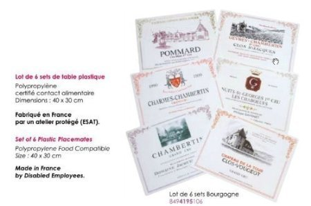 LOT DE 6 SETS DE TABLE PVC COLLECTION 6 VINS DE BOURGOGNE GRANDS CRUS