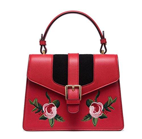 Fabelhaft Kreative Stickerei Handtasche Damen Leder Mode Umhängetasche Red