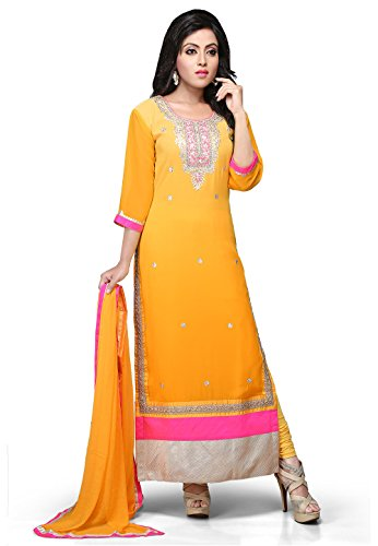 Utsav Fashion Embroidered Straight Cut Georgette Suit In Mustard Colour