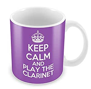 PURPLE KEEP CALM and Play the Clarinet Mug Coffee Cup Gift Idea present music by Duke Gifts