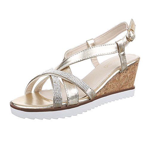 Damen Schuhe, K55, SANDALETTEN KEIL WEDGES PUMPS Gold