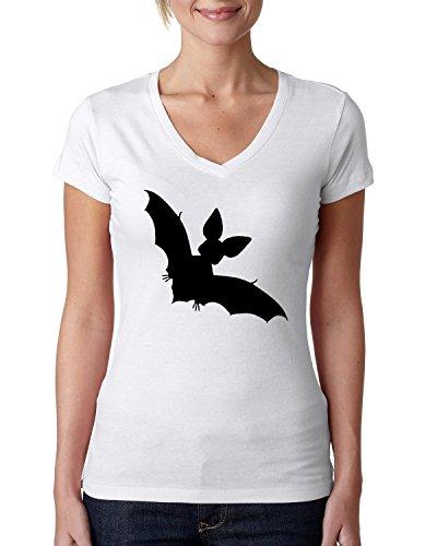 Bat shadow logo dammen V-neck baumwolle t-shirt Weiß