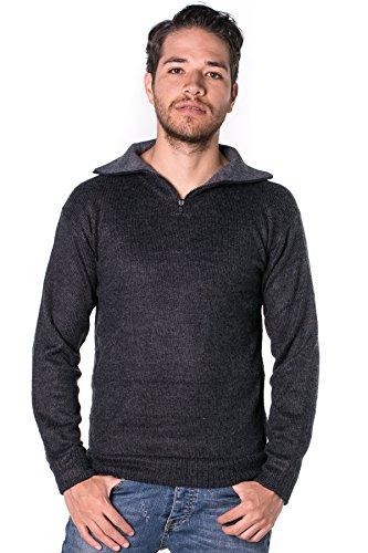 Gamboa - Warm und Weich Alpaka Stehkragen Pullover mit Reißverschluss für herren - Erhältlich in Schwarz, Hellgrau, Dunkelgrau und Weiß Schwarz