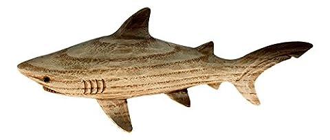 Brown Carved Woodgrain Shark Resin 8 Inch Tabletop Figurine
