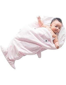 GreForest-Cute Cartoon squalo bambino sacco a pelo polare del panno morbido Swaddle infante appena nato di sonno...