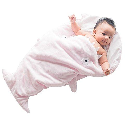 GreForest-Cute Cartoon squalo bambino sacco a pelo polare del panno morbido Swaddle infante appena nato di sonno Sack calda coperta bambino caldo Swaddle anti-calci Quilt (rosa)