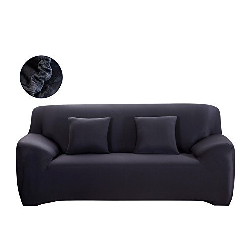 watta Stretch Elastic Sofa Schonbezug 1234-Sitzer-Sofa Couch Polyester Spandex Fabric Protector 2 Seater/(145-185cm) schwarz