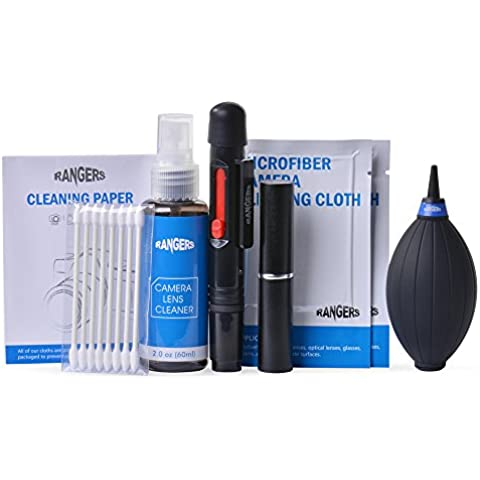 Rangers® 9 en 1 Set Limpieza Profesional con 2 oz no tóxico Sin alcohol Solución de limpieza para DSLR cámaras, objetivos y Sensible Electrónica