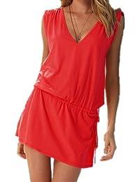 Aolevia Damen Deep V Strandkleid Sommer Kleid Beach Kleid 9 Färben Auswählbar (Rot)
