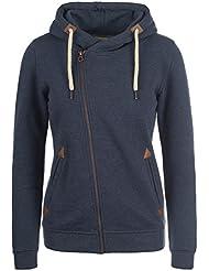 DESIRES Vicky Zip-Hood Damen Sweatjacke Kapuzen-Jacke Zip-Hood aus hochwertiger Baumwollmischung Meliert