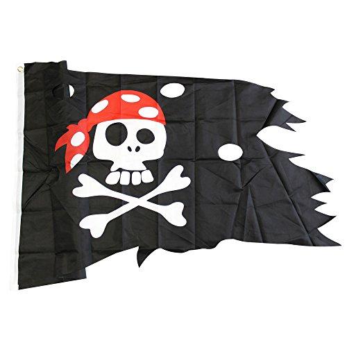 agge Piraten Lumpenfahne, 130 x 75 cm (01 Stück - 130x75cm) (Piraten Flagge)