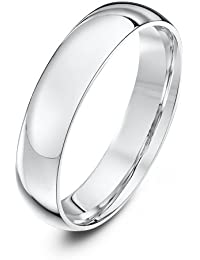 Theia Unisex Heavy Weight Court Shape Polished Platinum Wedding Ring
