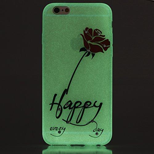 Coque Housse Etui pour iPhone 6 Plus/6S Plus, iPhone 6S Plus Coque en Silcone avec Bling Diamant, iPhone 6 Plus Coque Noctilucent Souple Slim Etui Housse, iPhone 6 Plus/6S Plus Silicone Case Soft Gel  Heureux Rose