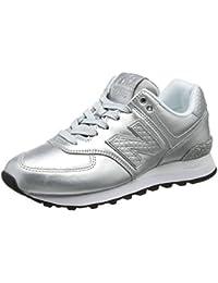 NEW Balance Da Donna Taglia 5 1/2 554 Running Scarpe da ginnastica grigio argento rosa e blu